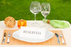 Reserved sign in dinner plate Stock Photos