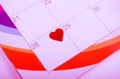 Calender page with a heart Stock Photos