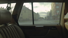 View from inside of the vintage car. Driving through small polish town. Stock Footage