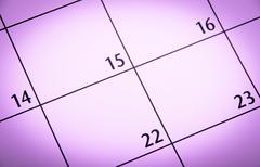 Close up a purple toned calendar page Kuvituskuvat