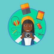 Young woman surrounded with her gadgets Stock Illustration