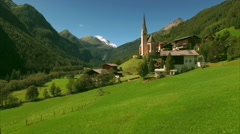 Church of St Vincent in the Alps, aerial footage Stock Footage