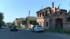 Russia. Old Part of the City. Country Like Wooden Houses on the Right. 2 Storey Stock Footage