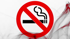 No smoking sign and wave of bloody grey smoke on white background Stock Footage