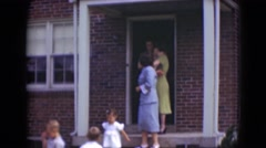 1947: large family leaving for special social gathering on lazy afternoon. Stock Footage
