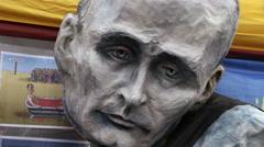 Anti Putin Propaganda An Ukraine Support Spot In Prague Stock Footage