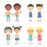 Vector cute cartoon twins brothers and sisters Stock Illustration