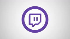 8k - Twitch round logo symbol Stock Footage