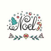 Noel Card. Winter Holiday Typography. Handdrawn Lettering Stock Illustration