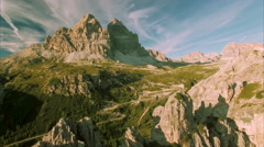 Amazing Italian Dolomites, Tre Cime mountains in the Alps Stock Footage
