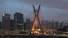 4K Ponte Estaiada, Stayed Bridge Illuminated Time lapse, Sao Paulo City, Brazil. Stock Footage