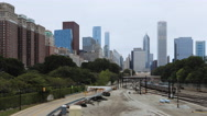 4K UltraHD A Timelapse Chicago Skyline with transit in front Stock Footage