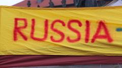 A signboard An Ukraine Support Spot In Prague. Pan right Stock Footage