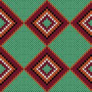 Knitting seamless quadrate pattern in warm colors over green Stock Illustration