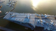 4k Aerial of Retired Aircraft Carrier Battleship In Charleston South Carolina Stock Footage