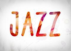 Jazz Concept Watercolor Word Art Stock Illustration