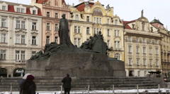 Statue of Jan Gus in old town Square Prague in winter Stock Footage