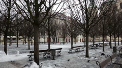 Empty Old town square in Prague  in winter. Non touristic season Stock Footage