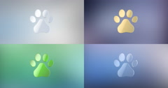 Paw 3d Icon Stock Footage