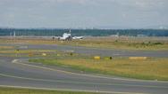 Airplane braking after landing Stock Footage