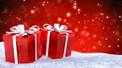 Christmas gifts in snow on red bokeh background. Seamless loop. 3D render Stock Footage