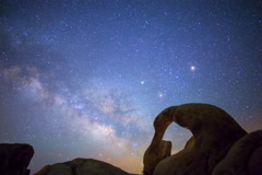 5K Astro Time Lapse of Milky Way thru Mobius Arch in Alabama Hills  Stock Footage
