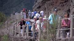 Tourists strolling crowds on Vesuvius. Stock Footage