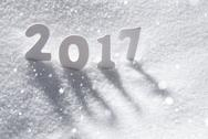 Text 2017 With White Letters In Snow, Snowflakes Stock Photos