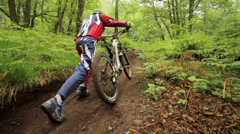 A man pushes his mountain bike while riding in a forest. Stock Footage