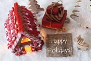 Gingerbread House, Sled, Snow, Text Happy Holidays Stock Photos