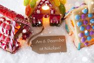 Colorful Gingerbread House, Snowflakes, Nikolaus Means Nicholas Day Stock Photos