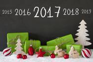 Christmas Decoration, Cement, Snow, Timeline 2017 Stock Photos