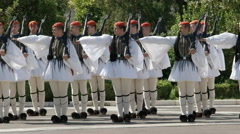 Guards on parade at the greek parliament in athens Stock Footage