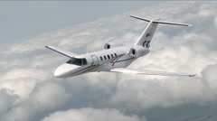 Cessna Citation CJ4 Air to Air Banking Left CU Stock Footage