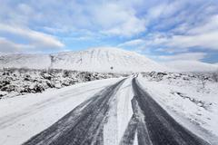 The first snow on the road at Glen Etive,Rannoch Moor ,Glen Etive,Highlands , Stock Photos