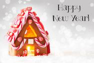 Gingerbread House, Silver Background, Text Happy New Year Stock Photos