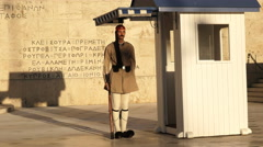 Brown uniformed guard on duty at the greek parliament Stock Footage