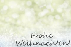 Golden Bokeh Background, Snow, Frohe Weihnachten Means Merry Christmas Piirros