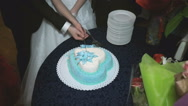 Newly married couple cut a wedding cake Stock Footage