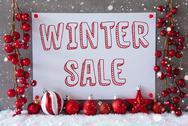 Label, Snowflakes, Christmas Balls, Text Winter Sale Stock Photos