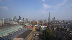 Amazing aerial view over the City of London from Tate Modern Gallery Stock Footage
