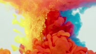 Underwater Red yellow blue Paint Smoke Stock Footage