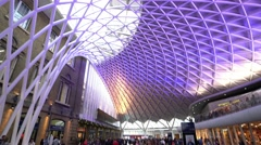 Amazing ceiling at Kings Cross station in London Stock Footage