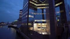 Modern architecture at London Bridge Pier Stock Footage