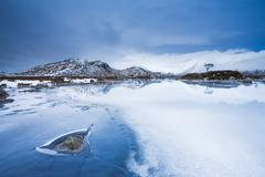 A quite and cold morning at Loch na h-Achlaise Stock Photos