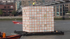Modern art project on River Thames in London Stock Footage