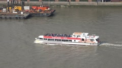 Sightseeing Cruise on River Thames in London Stock Footage