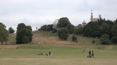 Beautiful meadows at Greenwich Park in London Stock Footage