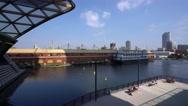 View over North Dock at Canary Wharf Stock Footage