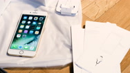 IPhone 7 plus dual camera unboxing Lighting audio connector and earpods. Stock Footage
